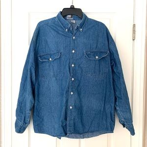 Basic Editions Blue Jeans Buttons Down Shirt L